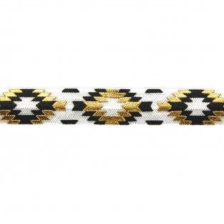 Elastická stuha - bílá - aztécký kosočtverec - 1,5 cm - 30 cm - 1 ks