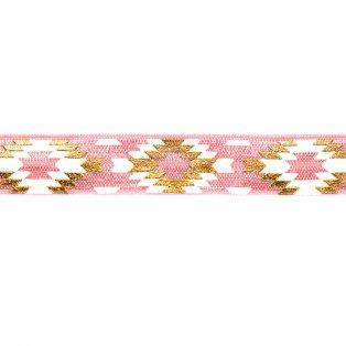 Elastická stuha - pastelově růžová - aztécký kosočtverec - 1,5 cm - 30 cm - 1 ks