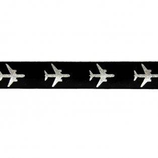 Elastická stuha - černá - letadlo - 1,5 cm - 30 cm - 1 ks