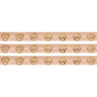Elastická stuha - meruňková - mušle - 1,5 cm - 30 cm - 1 ks