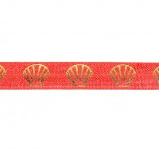 Elastická stuha - korálová - mušle - 1,5 cm - 30 cm - 1 ks