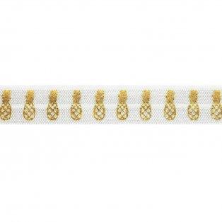 Elastická stuha - bílá - ananas - 1,5 cm - 30 cm - 1 ks