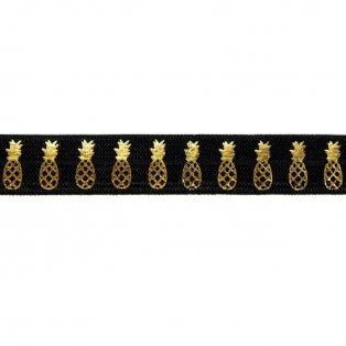 Elastická stuha - černá - ananas - 1,5 cm - 30 cm - 1 ks