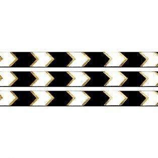 Elastická stuha - černá - šipka - 1,5 cm - 30 cm - 1 ks
