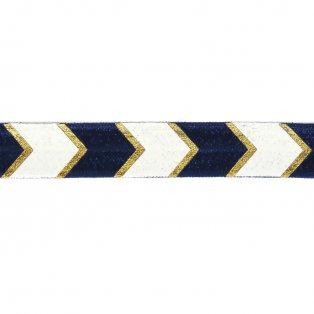 Elastická stuha - námořnická modř - šipka - 1,5 cm - 30 cm - 1 ks