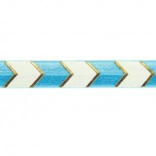 Elastická stuha - modrá - šipka - 1,5 cm - 30 cm - 1 ks