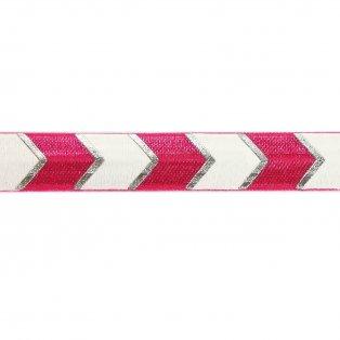 Elastická stuha - růžová - šipka - 1,5 cm - 30 cm - 1 ks