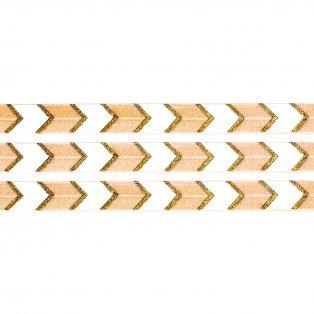 Elastická stuha - meruňková - šipka - 1,5 cm - 30 cm - 1 ks