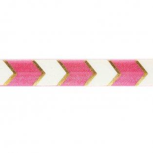 Elastická stuha - pastelově růžová - šipka - 1,5 cm - 30 cm - 1 ks