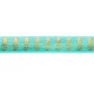 Elastická stuha - středně tyrkysová - ananas - 1,5 cm - 30 cm - 1 ks