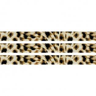 Elastická stuha - režná - leopardí vzor - 1,5 cm - 30 cm - 1 ks