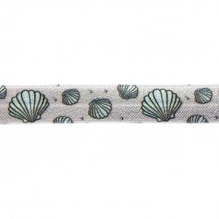 Elastická stuha - světle šedá - mušle - 1,5 cm - 30 cm - 1 ks