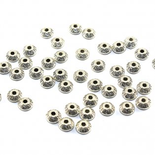 Kovový korálek - disk - starostříbrný - ∅ 7 mm - 10 ks