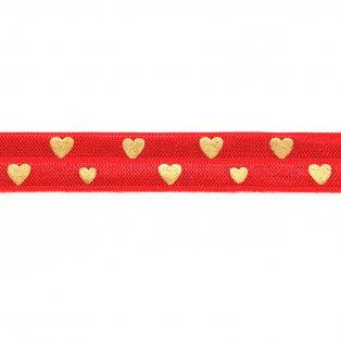 Elastická stuha - červená - srdce - 1,5 cm - 30 cm - 1 ks