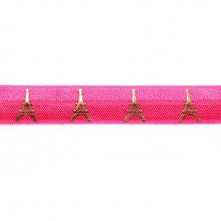 Elastická stuha - neonově růžová - Eiffelova věž - 1,5 cm - 30 cm - 1 ks