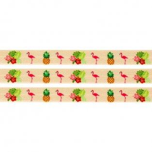 Elastická stuha - světle oranžová - plameňák & ananas & ibišek - 1,5 cm - 30 cm - 1 ks