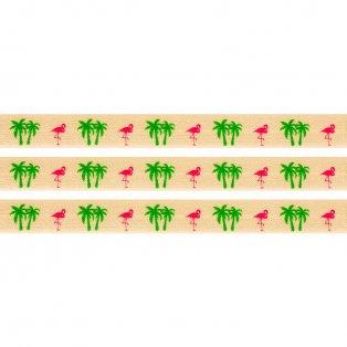 Elastická stuha - světle oranžová - plameňák & palmy - 1,5 cm - 30 cm - 1 ks