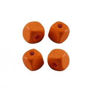 Dřevěné korálky - kostky - oranžové - 10 x 10 x 10 mm - 50 g
