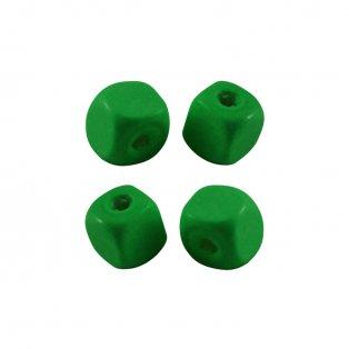 Dřevěné korálky - kostky - zelené - 10 x 10 x 10 mm - 50 g