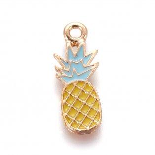 Kovový přívěsek - zlatý - ananas - 21,5 x 8 x 1,5 mm - 1 ks
