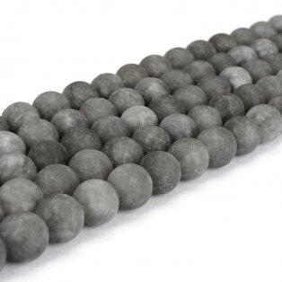 Přírodní bílý nefrit - matný - tmavě šedý - ∅ 8 mm - 1 ks