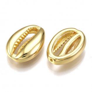 Mosazný korálek - pozlacený - kauri mušle - zlatý - 15 x 11 x 4 mm - 1 ks