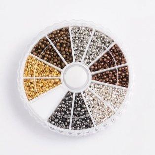Krabička kovových korálků - mix barev - Ø 3,2 mm - 480 ks