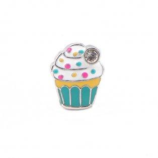 Korálek z nerezové oceli - platinový - cupcake - 14 x 11,5 x 5,5 mm - 1 ks