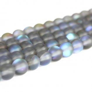 Syntetický měsíční kámen - matný - tmavě šedý - ∅ 8 mm - 1 ks