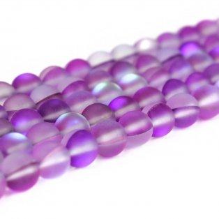 Syntetický měsíční kámen - matný - fialový - ∅ 8 mm - 1 ks