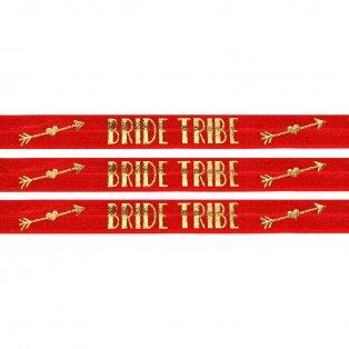 "Elastická stuha - červená - ""bride tribe"" - 1,5 cm - 30 cm - 1 ks"