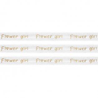 """Elastická stuha - bílá - """"flower girl"""" - 1,5 cm - 30 cm - 1 ks"""
