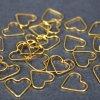 Mosazný spojovací mezidíl - zlatý - srdce - 12 x 13,5 x 1 mm - 1 ks