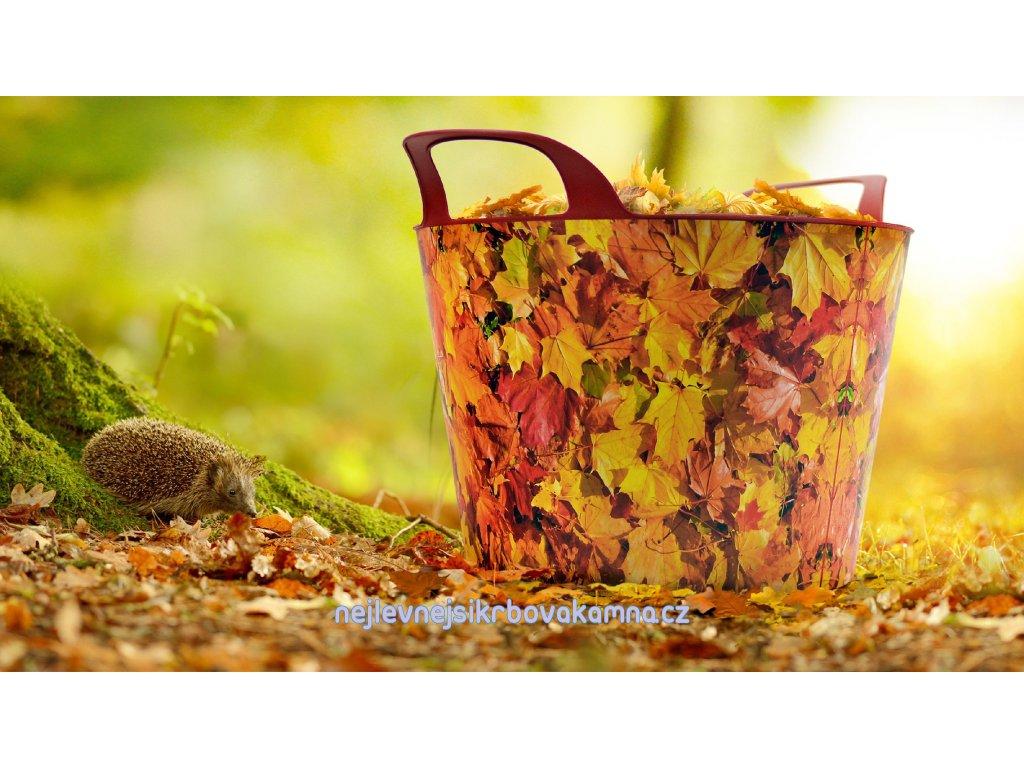 Koš na dřevo - vzor listí