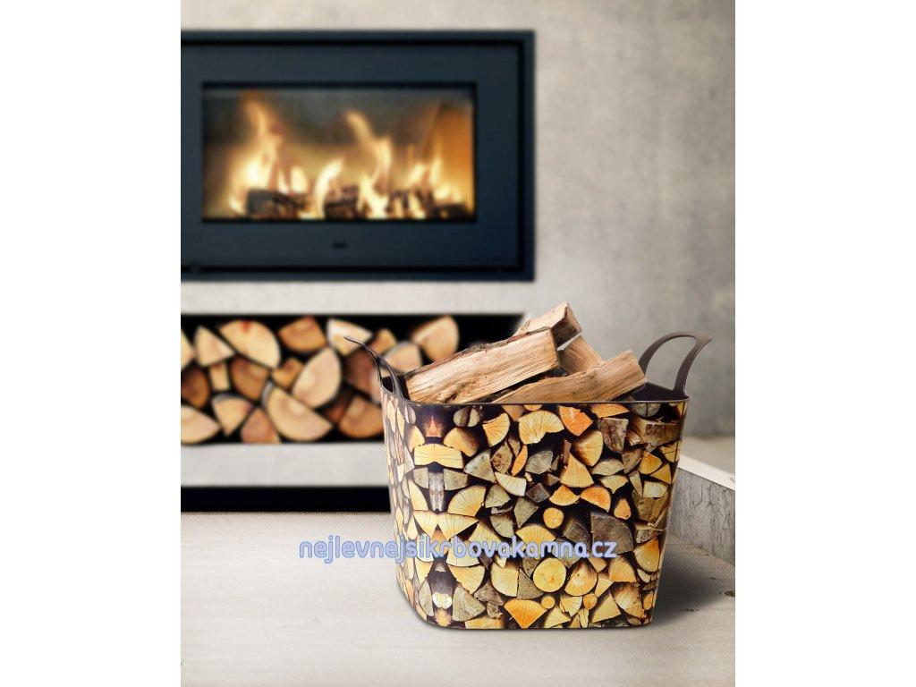 Koš na dřevo - vzor dřevo