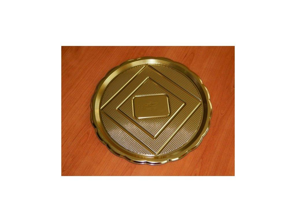 alcas umelohmotny tac pod dort zlaty kulaty 28cm