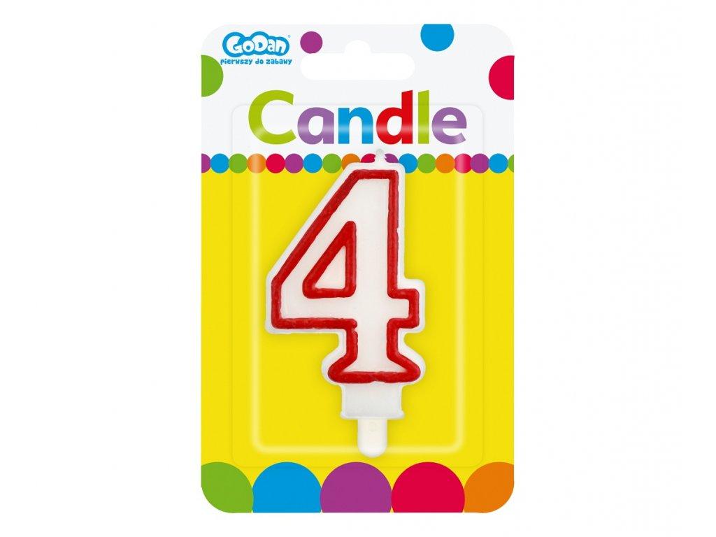 Dortová narozeninová svíčka - Číslice 4, bílo/červená - 1 ks