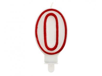 Dortová narozeninová svíčka - Číslice 0, bílo/červená - 1 ks
