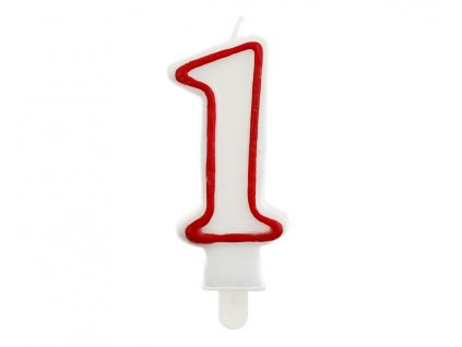 Dortová narozeninová svíčka - Číslice 1, bílo/červená - 1 ks