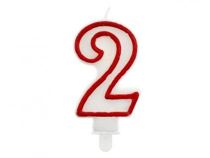 Dortová narozeninová svíčka - Číslice 2, bílo/červená - 1 ks