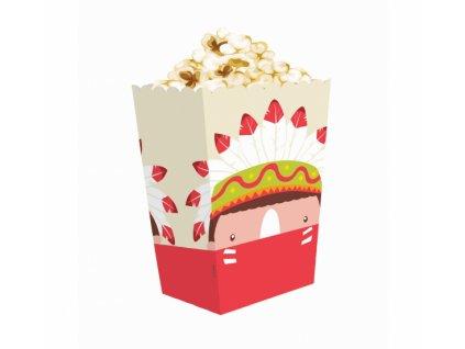 """Papírová krabička na popcorn """"Indiánská párty"""" - 4ks"""