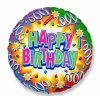 "Balónek fóliový ""Happy Birthday"" Serpentýny 46cm - 1 ks"