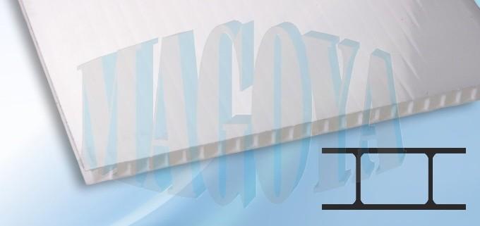 Komůrkový polykarbonát, opál, 8 mm Rozměry: celá deska 2,1 x 6 m