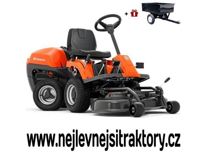 zahradní traktor, rider husqvarna r 115c oranžovo-černé barvy s předním sečením a velkými koly
