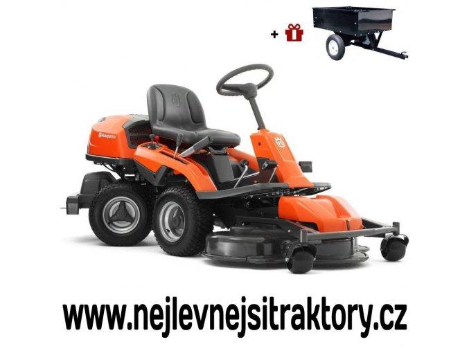 zahradní traktor, rider husqvarna r 320 awd oranžovo-černé barvy s předním sečením a velkými koly