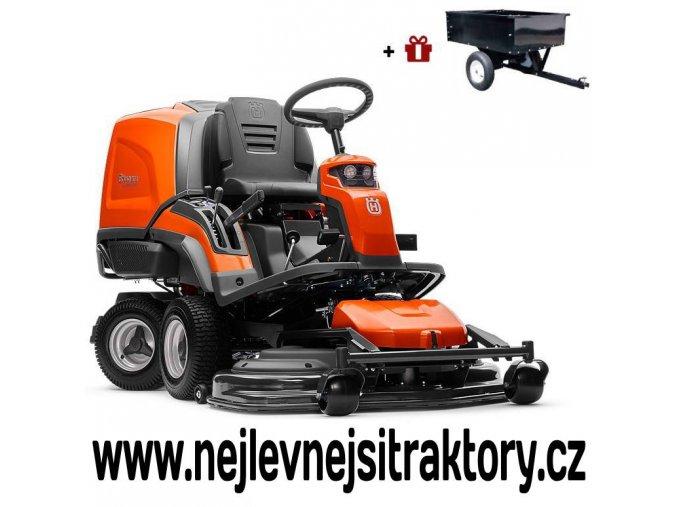 zahradní traktor, rider husqvarna r c 320ts awd oranžovo-černé barvy s předním sečením a velkými koly