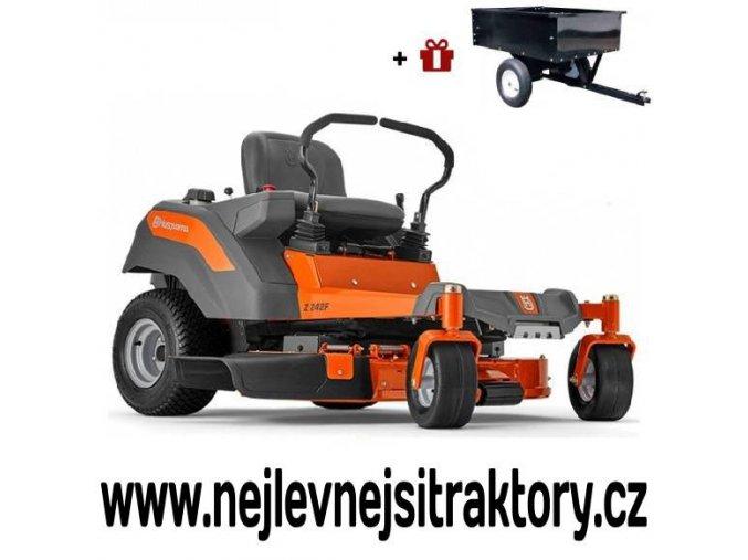zahradní traktor, rider husqvarna z242f oranžovo-černé barvy s předním sečením