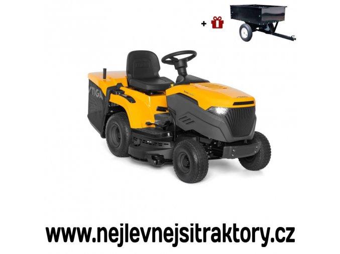 zahradní traktor stiga estate 3398 hw žluté barvy s velkými koly