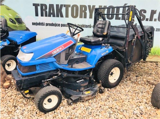 profi zahradní traktor iseki sxg 19 modré barvy s velkým košem