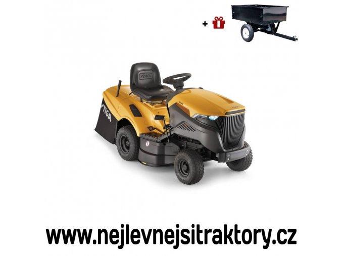 zahradní traktor stiga estate 5092 h žluté barvy s velkými koly
